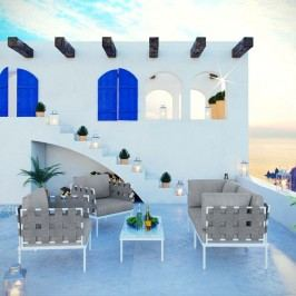 Harmony 5  Piece Outdoor Patio Aluminum Sectional Sofa Set in White Gray