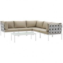 Harmony 6 Piece Outdoor Patio Aluminum Sectional Sofa Set in White Beige