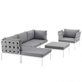 Harmony 6 Piece Outdoor Patio Aluminum Sectional Sofa Set in White Gray