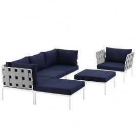 Harmony 6 Piece Outdoor Patio Aluminum Sectional Sofa Set in White Navy