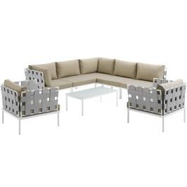 Harmony 8 Piece Outdoor Patio Aluminum Sectional Sofa Set in White Beige