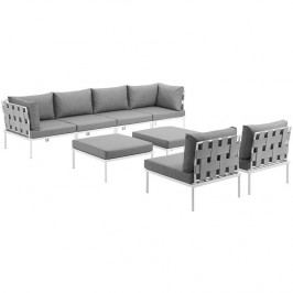 Harmony 8 Piece Outdoor Patio Aluminum Sectional Sofa Set in White Gray