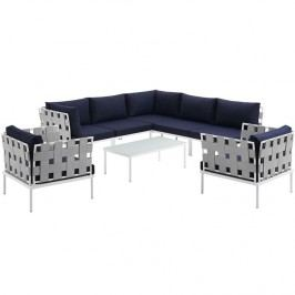 Harmony 8 Piece Outdoor Patio Aluminum Sectional Sofa Set in White Navy