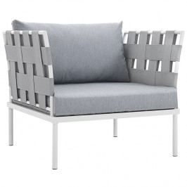 Harmony Outdoor Patio Aluminum Armchair in White Gray