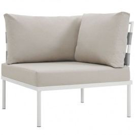 Harmony Outdoor Patio Aluminum Corner Sofa in White Beige