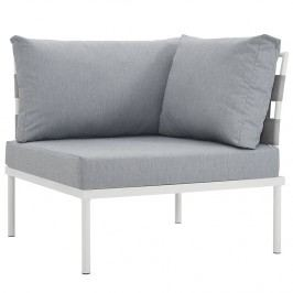 Harmony Outdoor Patio Aluminum Corner Sofa in White Gray