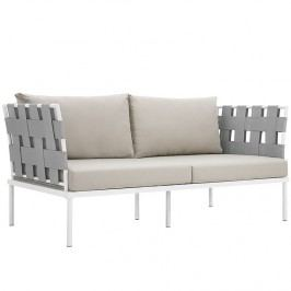Harmony Outdoor Patio Aluminum Loveseat in White Beige