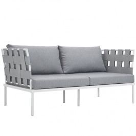 Harmony Outdoor Patio Aluminum Loveseat in White Gray