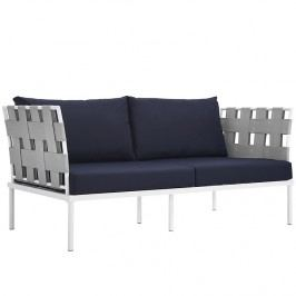 Harmony Outdoor Patio Aluminum Loveseat in White Navy