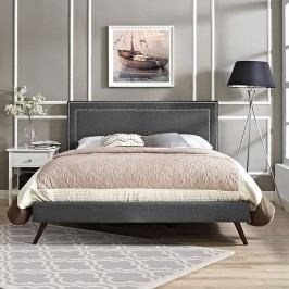 Jessamine King Fabric Platform Bed with Round Splayed Legs in Gray