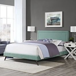 Jessamine King Fabric Platform Bed with Round Splayed Legs in Laguna