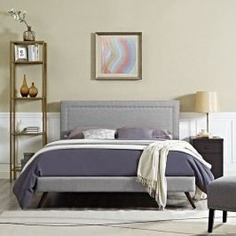 Jessamine King Fabric Platform Bed with Round Splayed Legs in Light Gray