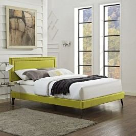 Jessamine King Fabric Platform Bed with Round Splayed Legs in Wheatgrass