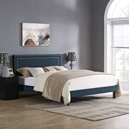 Jessamine King Fabric Platform Bed with Round Tapered Legs in Azure