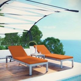 Shore 3 Piece Outdoor Patio Aluminum Chaise with Cushions in Silver Orange