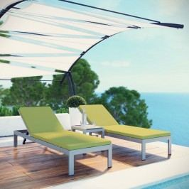 Shore 3 Piece Outdoor Patio Aluminum Chaise with Cushions in Silver Peridot