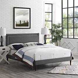 Jessamine King Fabric Platform Bed with Round Tapered Legs in Gray