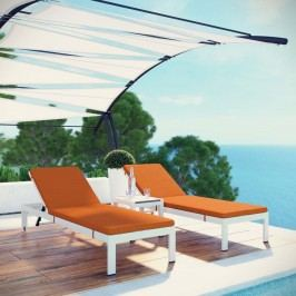 Shore 3 Piece Outdoor Patio Aluminum Chaise with Cushions in White Orange