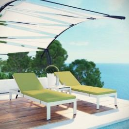 Shore 3 Piece Outdoor Patio Aluminum Chaise with Cushions in White Peridot