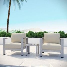 Shore 3 Piece Outdoor Patio Aluminum Sectional Sofa Set in Silver Beige