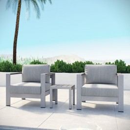 Shore 3 Piece Outdoor Patio Aluminum Sectional Sofa Set in Silver Gray