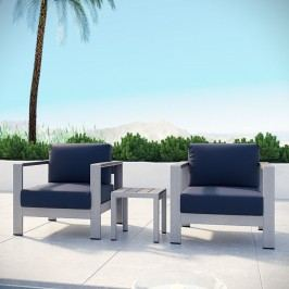 Shore 3 Piece Outdoor Patio Aluminum Sectional Sofa Set in Silver Navy