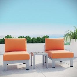 Shore 3 Piece Outdoor Patio Aluminum Sectional Sofa Set in Silver Orange