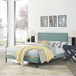 Jessamine King Fabric Platform Bed with Round Tapered Legs in Laguna