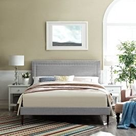 Jessamine King Fabric Platform Bed with Round Tapered Legs in Light Gray