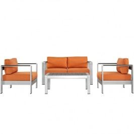 Shore 4 Piece Outdoor Patio Aluminum Sectional Sofa Set in Silver Orange