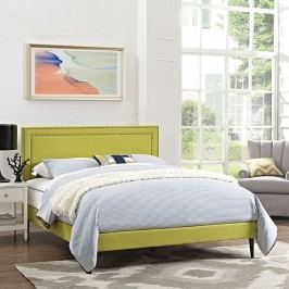 Jessamine King Fabric Platform Bed with Round Tapered Legs in Wheatgrass