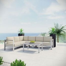 Shore 5 Piece Outdoor Patio Aluminum Sectional Sofa Set in Silver Beige