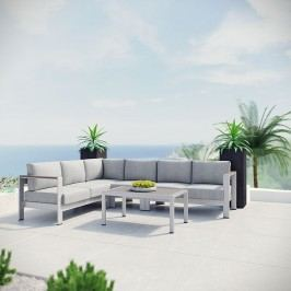 Shore 5 Piece Outdoor Patio Aluminum Sectional Sofa Set in Silver Gray