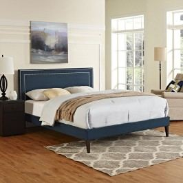 Jessamine King Fabric Platform Bed with Squared Tapered Legs in Azure