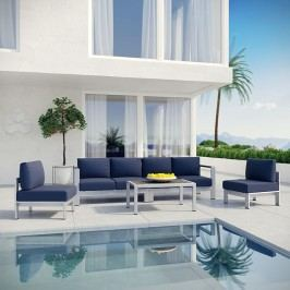 Shore 5 Piece Outdoor Patio Aluminum Sectional Sofa Set in Silver Navy