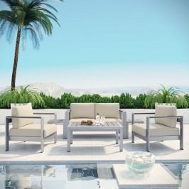 Shore 6 Piece Outdoor Patio Aluminum Sectional Sofa Set in Silver Beige