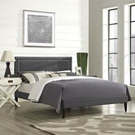 Jessamine King Fabric Platform Bed with Squared Tapered Legs in Gray