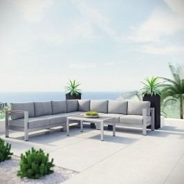 Shore 6 Piece Outdoor Patio Aluminum Sectional Sofa Set in Silver Gray