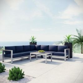 Shore 6 Piece Outdoor Patio Aluminum Sectional Sofa Set in Silver Navy