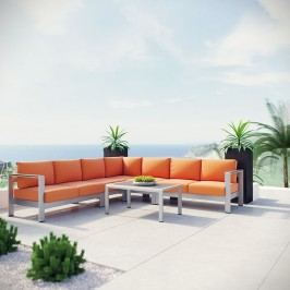 Shore 6 Piece Outdoor Patio Aluminum Sectional Sofa Set in Silver Orange