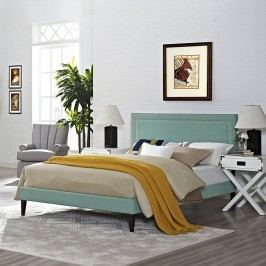 Jessamine King Fabric Platform Bed with Squared Tapered Legs in Laguna