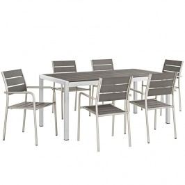 Shore 7 Piece Outdoor Patio Aluminum Dining Set in Silver Black
