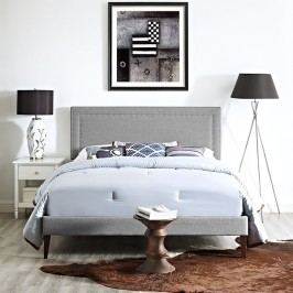 Jessamine King Fabric Platform Bed with Squared Tapered Legs in Light Gray