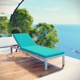 Shore Outdoor Patio Aluminum Chaise with Cushions in Silver Turquoise