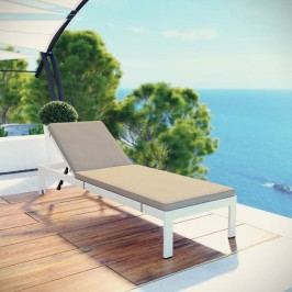 Shore Outdoor Patio Aluminum Chaise with Cushions in White Beige