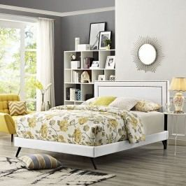 Jessamine King Vinyl Platform Bed with Round Splayed Legs in White