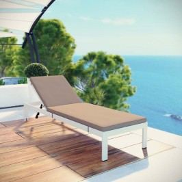 Shore Outdoor Patio Aluminum Chaise with Cushions in White Mocha