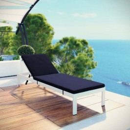 Shore Outdoor Patio Aluminum Chaise with Cushions in White Navy