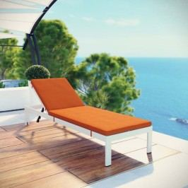 Shore Outdoor Patio Aluminum Chaise with Cushions in White Orange