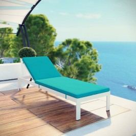 Shore Outdoor Patio Aluminum Chaise with Cushions in White Turquoise